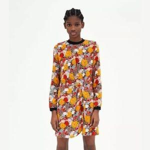 Zara Autumnal Floral Twist Dress Small